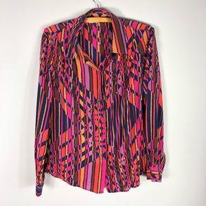 Trina Turk Geometric Print Silk Blouse Top Shirt